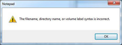 The filename directory name or volume label syntax is incorrect