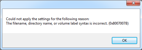 lỗi The filename directory name or volume label syntax is incorrect1