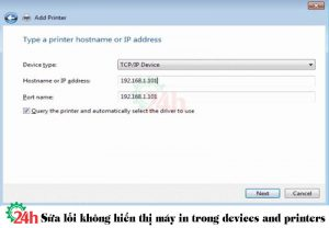 sua loi khong hien thi may in trong devices and printers